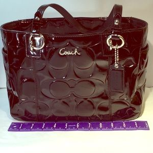 Coach patent leather tote in good condition.